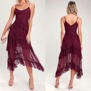 Wonderfully Whimsical Burgundy Lace Ruffled Midi